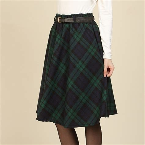 winter new retro plaid woolen skirts knee length