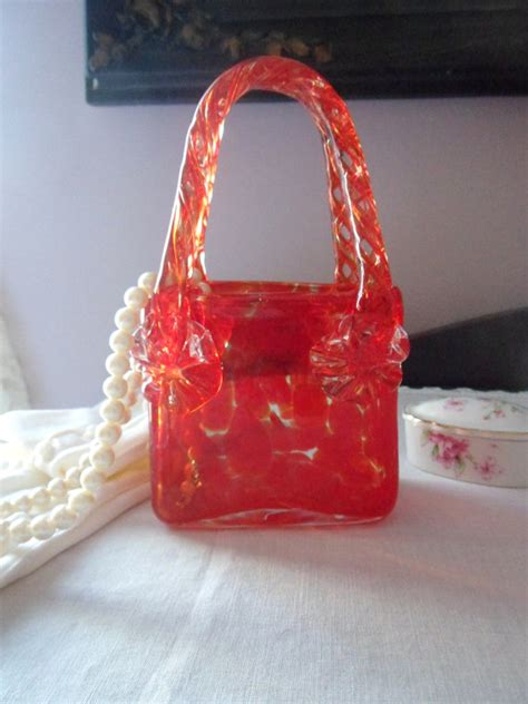 murano purse vase tortoise glass blown handbag