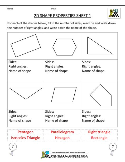 characteristics of pattern in math free printable geometry worksheets 3rd grade