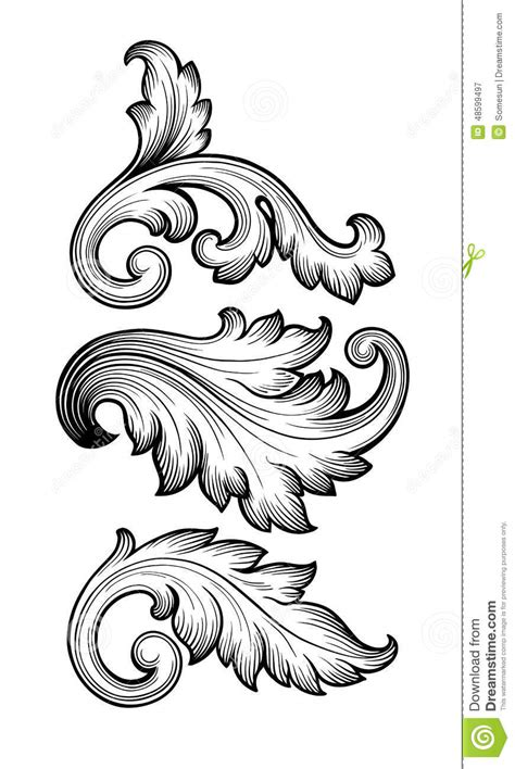 design elements style vintage baroque floral scroll set ornament vector stock