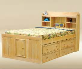 unfinished wood size captain storage bed with drawers and single door cabinet plus