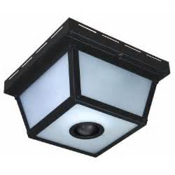 Outdoor Ceiling Light Motion Sensor Hton Bay 360 Degree Square 4 Light Black Motion Sensing Outdoor Flush Mount Hb 4305 Bk The