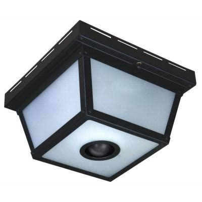 Outdoor Ceiling Motion Sensor Light Hton Bay 360 Degree Square 4 Light Black Motion Sensing Outdoor Flush Mount Hb 4305 Bk The