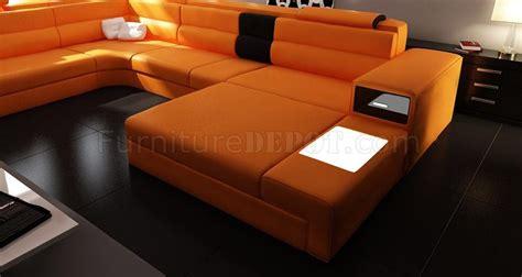Polaris Sectional Sofa In Orange Bonded Leather By Vig Orange Modern Furniture