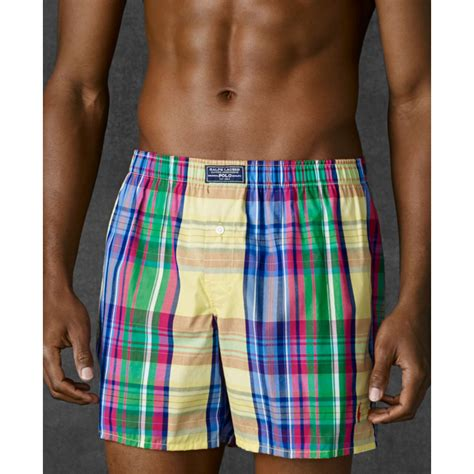 ralph polo mens plaid woven boxers for lyst