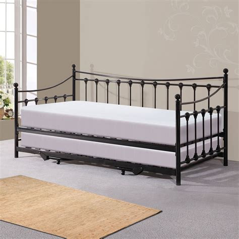 Daybed With Mattress New Metal Day Bed With Trundle Bed 2x Memory Sprung Ortho Mattress Ebay