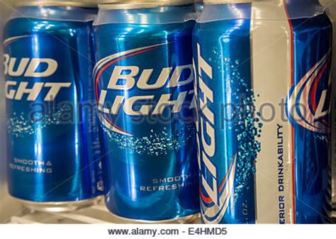 Bud Light Stock by A Display Of Bud Light By The Brewer Anheuser Busch