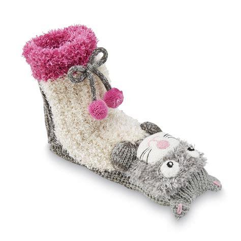 cat sock slippers joe boxer s plush slipper socks cat clothing