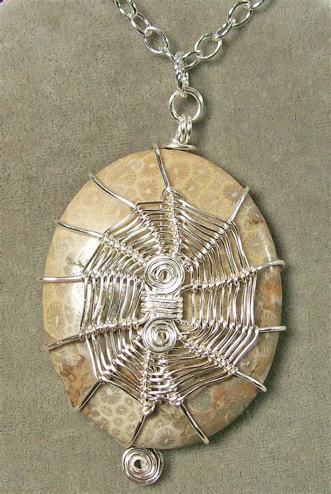 Fossil Bag 3in1 2883 fossil coral and silver 3 in 1 spiderweb pendant jewelry by