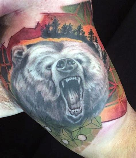 tattoo 3d bear 3d like very realistic looking black and white roaring