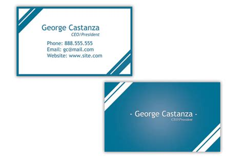 Free Business Card Designs To Print At Home