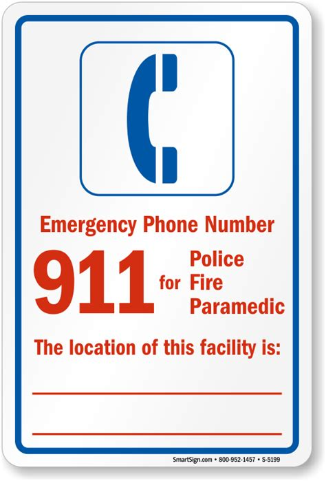 Emergency Contact Detox Facility by Emergency Phone Number Pool Safety Sign Sku S 5199