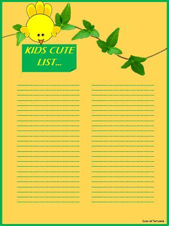 cute templates for word documents cute list template wordtemplateshub com