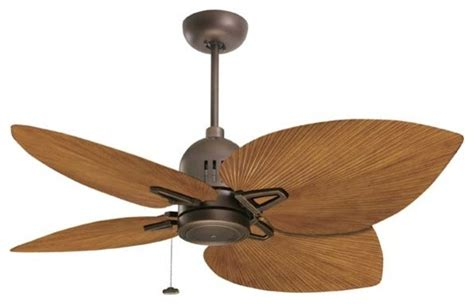 palm tree fan blades 52 quot rubbed bronze nedmac outdoor ceiling fan w pecan