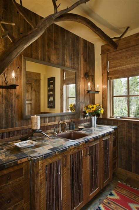 Rustic Bathrooms Photos by Rustic Bathroom With Flat Panel Cabinets Wall