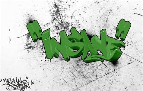 insane    graffiti letters green color digital