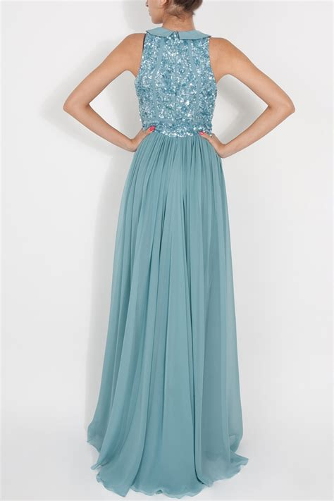 blue beaded gown lyst elie saab beaded top silk gown in blue