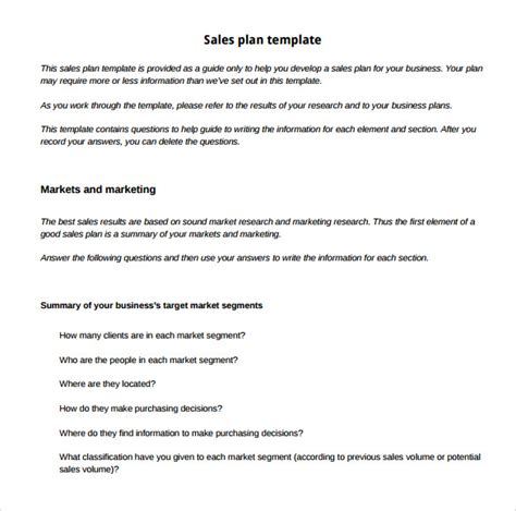 sales marketing plan template sle sales plan template 17 free documents in pdf