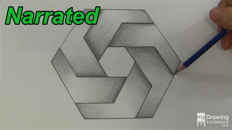 Sketchytech The Inspiration Of Hexagons For Drawing In 3d - optical illusion hexagon pencil and in color