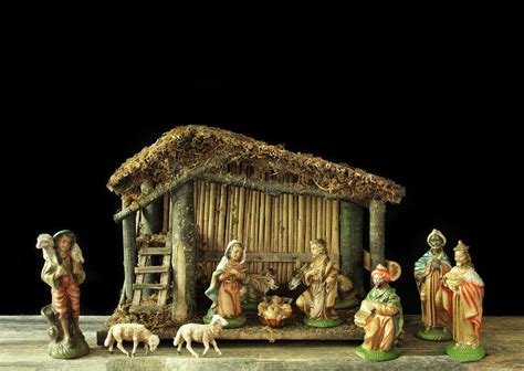 reserved nativity set italy vintage creche wooden manger