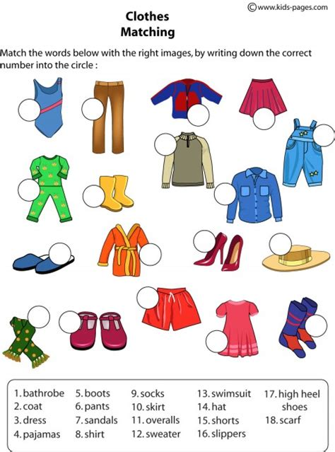 Clothes Matching Worksheets | free coloring pages of clothing worksheet