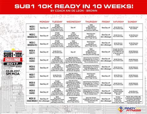 10k 10 Weeks by Pf Sub 1 10k Ready In 10 Weeks By Coach Ani De