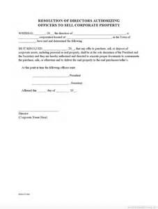 sample printable corporate resolution to sell property