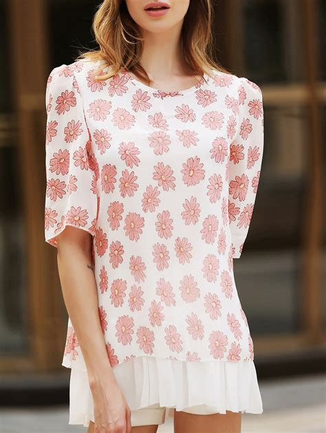 s tricot pattern scoop neck flower pattern scoop neck 3 4 sleeve casual blouse for