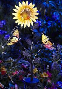 solar color changing lights solar powered butterfly and sunflower garden brighter