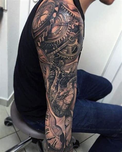 biomechanical gear tattoo sleeve male full sleeves mechanical gear tattoo full and half