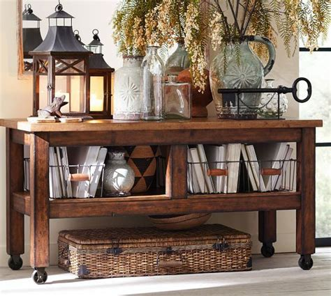 Ideas For Console Table With Baskets Design Console Table Pottery Barn Furniture Inspiration Build Pottery Wire