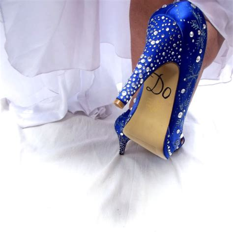 bridal wedding blue shoes reserved for snowflakes