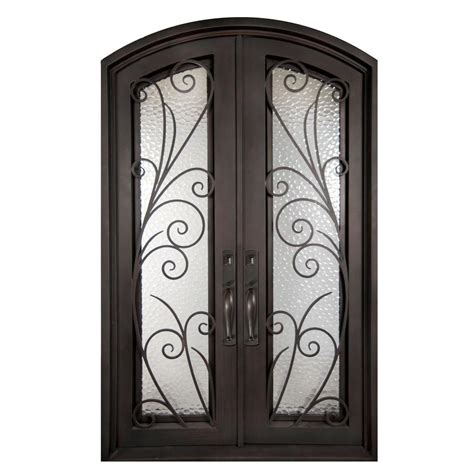 Front Door Iron Iron Doors Unlimited 62 In X 82 In Flusso Classic Lite Painted Rubbed Bronze Hammered