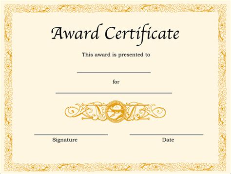 award certificate template formal award templates document helloalive