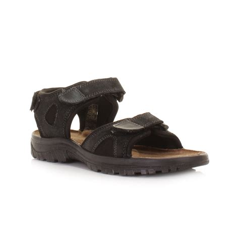 mens sandals with velcro straps mens black leather suede velcro outdoor walking