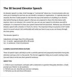 template for a speech sle elevator speech exles 7 documents in pdf
