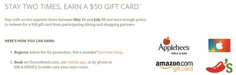 Choice Hotels Gift Card Promo - free night for every 2 stays with the new choice hotels promotion insideflyer uk