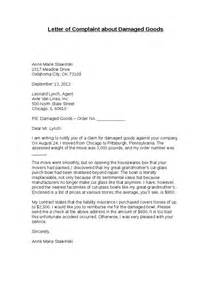 Complaint Letter Description Exle Complaint Letter Damaged Goods Cover Letter Templates