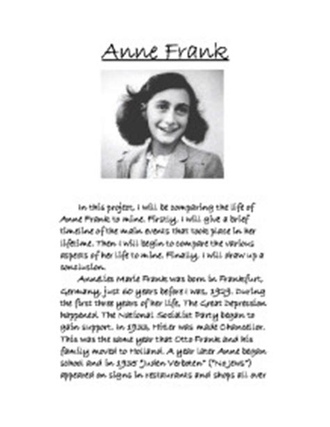 anne frank biography resume diary of anne frank essay resume template high school