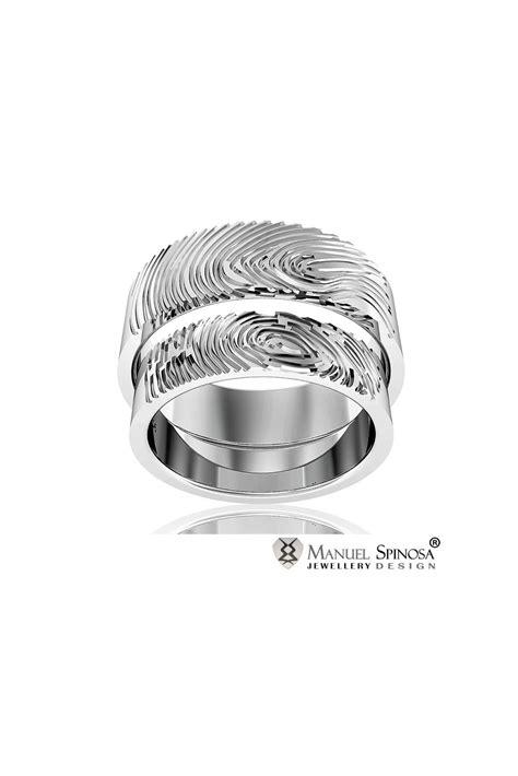 Wedding Rings Original Design by Wedding Ring Set With Original Fingerprint Design