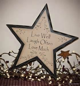 primitive rustic live laugh love wood star sign antique