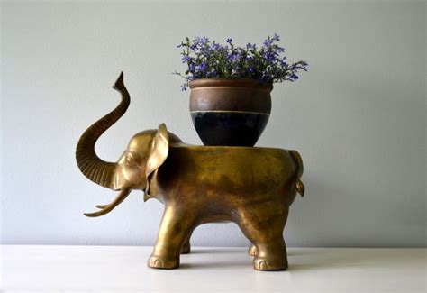 ottoman zoo reserved vintage brass elephant large plant stand low
