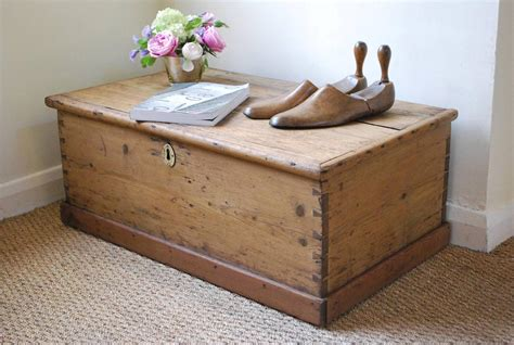 Vintage Rustic Pine Box Chest Trunk Coffee Table Pine Chest Coffee Table