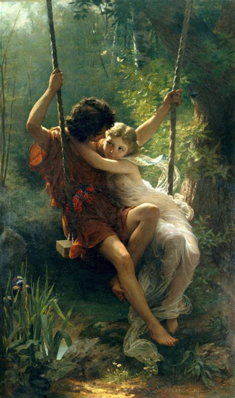 painting of boy and girl on swing cute mast potrait by pierre auguste cot 1837 1883