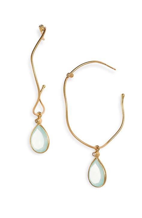nunu designs semiprecious drop hoop earrings in gold gold