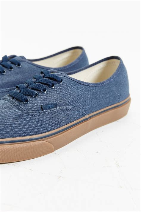 vans authentic washed gum sole sneaker in blue for lyst