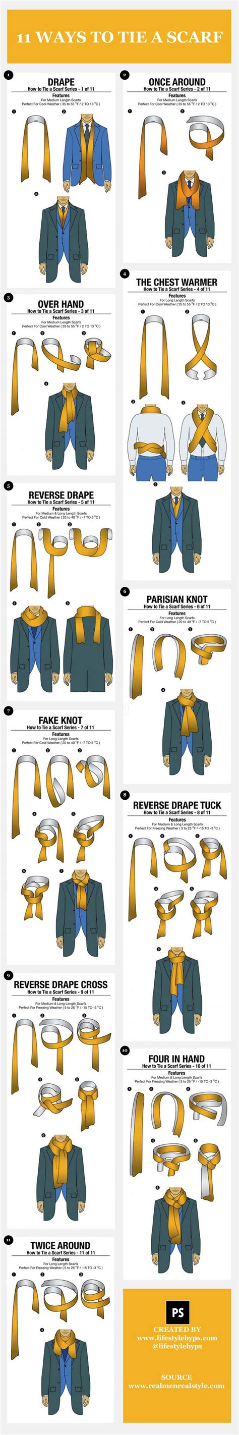 11 different ways to tie a scarf brandongaille