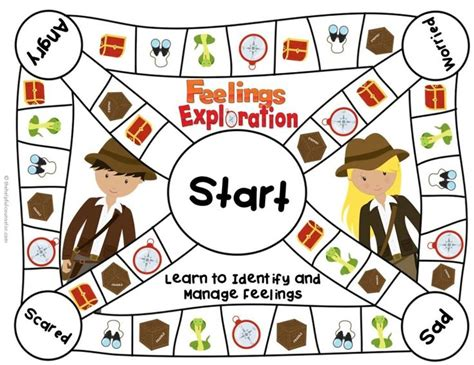 printable emotion games feelings game board for elementary school counseling