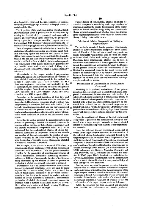 Bio Chemical patente us5741713 combinatorial libraries of labeled