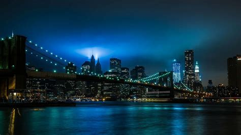 blue nyc new york blue and bridge lights wallpapers 1920x1080 416245